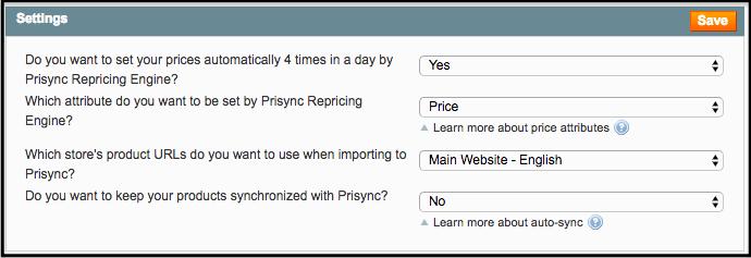 Prisync Settings Magento