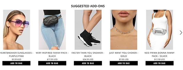 Fashion Nova Add-on Suggestions
