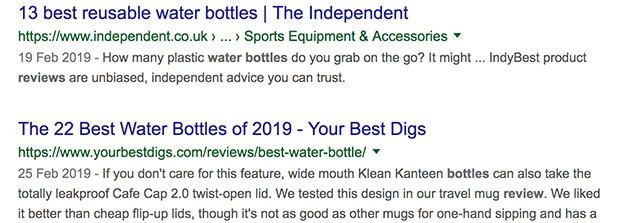 Water Bottle Review Search Results