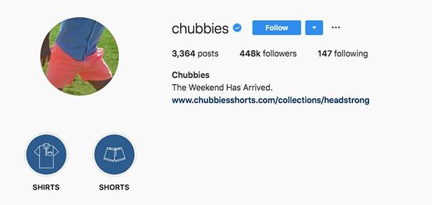Chubbies Instagram Account