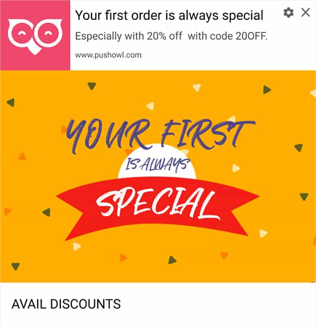 First-Purchase Discounts Notification