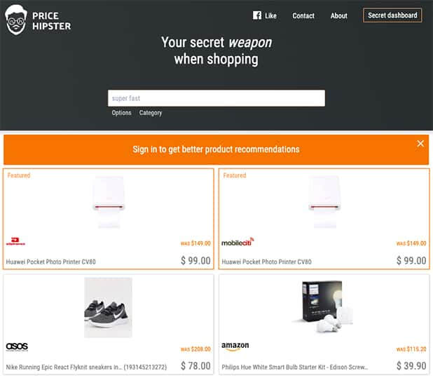 Price Hipster Comparison Shopping Engine