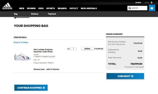 Adidas Checkout Page