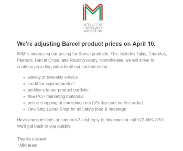 Email Customers About A Price Change