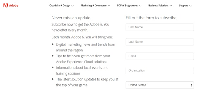 Adobe Subscription Page